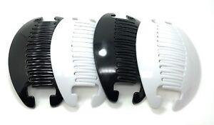 4 set Interlocking Banana Combs Hair Clip French Side Comb Holder (Black-White).