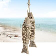 2Pcs Handmade Coastal Art Design Carved Wooden Marine Fish Wall Sculpture Decor