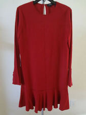Theory Marah Bergen Bell Sleeves Flounce Hem Dress Dark Vermilion 0 NWT