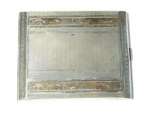 Antique Italian Gilt Silver Cigarette Case with Rose Gold Floral Pattern 141g