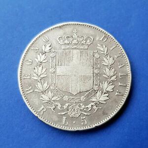 Italie - 5 Lire 1877 R ( Rome ) Victor Emmanuel II - Argent