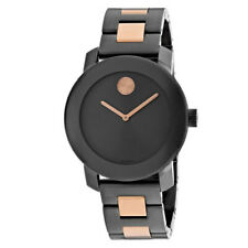 Movado Bold Womens Gunmetal Rose Gold Stainless Steel Swiss Watch 3600327