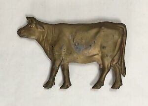 "Antique Vintage Old Gold Painted Cow Vane Weathervane 9 ¼"" Long. Good Shape"