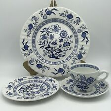 Vintage J&G Meakin Classic White Blue Nordic 4pc Place Setting Made In England