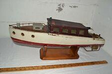 """Antique Vintage Big 28"""" Motorized Wooden Model Cabin Cruiser Pond Yacht Boat"""