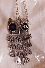 """Necklace Owl Pendant 1 1/2 x 2"""" Silver with black eyes 24"""" NIP"""
