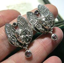 Lady Amethyst Clip Jewellery Earrings Art Nouveau Revival Sterling Silver Flower