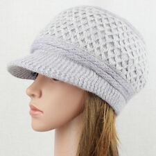 Angora Knit Hat Brim Baggy Slouchy Crocheted Newsboy Winter Visor Cap UPick GQ