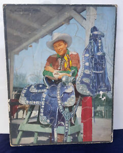 Vintage 1950 Roy Rogers Picture Frame Tray Puzzle Fancy Saddle Whitman