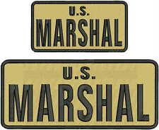 U.S. MARSHAL EMBROIDERY PATCH 4X10 AND 3X6 hook on back TAN/BLK