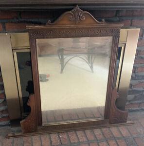 Antique Dresser Top Wooden Mirror
