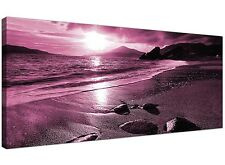 Plum Modern Canvas of Beach for Living Room  - 120cm x 50cm - 1078
