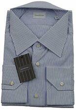 Ermenegildo Zegna Blue/White Stripe Formal Shirt Made in Italy Size 45 / 17.75