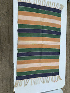 Small rug 100% cotton wide stripe with tassels made in India LSE090421J