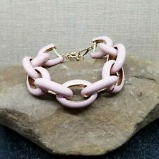 Blush Pink Enamel and Gold Tone Chunky Chain Link Bracelet 7.5""