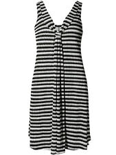 M & S Women's Black and White Stripe Stretchy Jersey Cool Summer Dress-Size 8-18