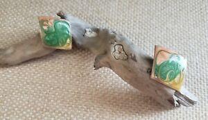 Women's Metal Diamond-Shaped Enamel Stud Earrings Jewelry