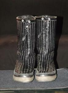 ECCO Black Patent Leather Boots USA 7 EU 38 Mid Calf
