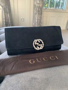 Gucci Swarkovski Black Suede Clutch Bag Handbag Purse