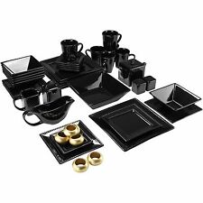 Black Square Dinnerware Set Beaded Kitchen Banquet 45 Piece Plates Cups Dishes