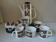 "J & G Meakin Studio ""Maori"" 15 Piece Coffee Set Retro"
