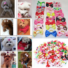 Cute 100Pcs/Bag Pet Cat Dog Hair Bows & Rubber Bands Pet Grooming Accessories