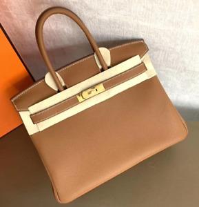 ✾✾✾✾✾✾Authentic Hermes Birkin 25cm Gray Togo Bag w Gold Hardware