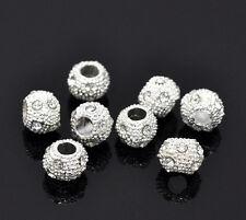 10Pcs Silver Plated Rhinestone Ball&Round Crystal Beads