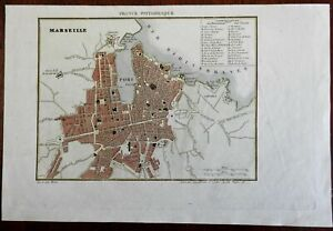 Marseilles France 1835 Mediterranean Sea Military Forts detailed city plan map