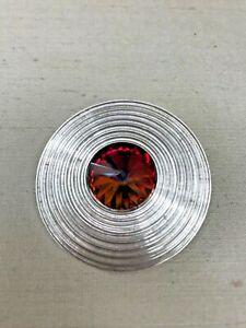 Patricia Locke Vintage Brooch Pin - Rainbow Crystal & Silver Tone