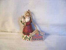 Jim Shore Heartwood Creek Santa With Kitty Cat Christmas Ornament 2002 Enesco
