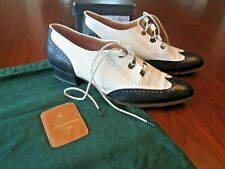 Vtg Ralph Lauren Navy Cream Leather Classic Wingtip Oxford Shoes 8.5 Italy Rare