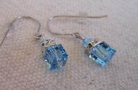 Hypoallergenic Dangle Earrings Swarovski Elements Crystal in Aqua Color