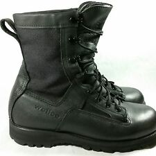 Wellco Men's 7.5 W Black Leather Combat Rugged Work Military Vibram Sole Boots