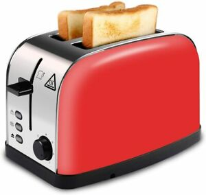 Red 2-Slice Toaster-Wide Slots for Toast & Bagels