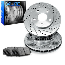 2001-2004 Ford Focus Front eLine Drilled Slotted Brake Disc Rotors & Ceramic Pad