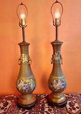 """2 Rare Antique Bronze Cloisonne Champeleve Lamps 38"""""""