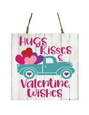 Valentine Truck Printed Handmade Wood Valentine Ornament Small Sign