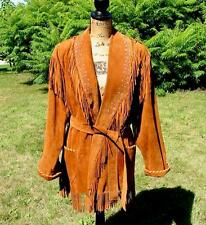 Amazing Western Patricia Wolf Hand Painted Suede Fringe Jacket Made in Texas S