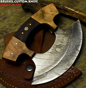 Brussel Hand Forged Damascus Steel Walnut Wood Hunting Clever Chopper Axe Knife