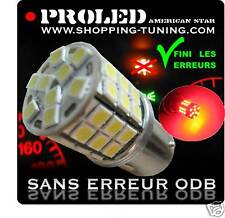 2 AMPOULE 45 LED ROUGE SMD P21/5W ANTI ERREUR ODB