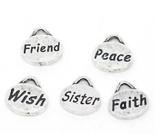 10 x MIXED OVAL CHARMS - FRIEND / FAITH / PEACE / SISTER / WISH - 11 x 11mm