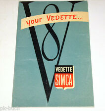 Manuale di istruzioni owner'S MANUAL SIMCA Vedette v8 Trianon Versailles, 03/1955