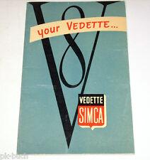 Manuel Owner 's Manual simca vedette v8 trianon versailles, 03/1955