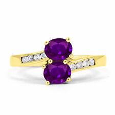 9 Carat Amethyst Cocktail Yellow Gold Fine Rings