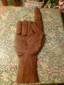 SIGN VINTAGE RARE Right Hand Pointing Left Wooden