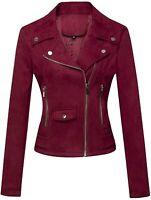 Women's Slim Fit Notched Collar Faux Suede Crossover Zipper Biker Jacket PkCt XL