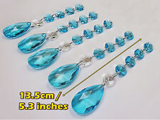 5 XL CHANDELIER GLASS CRYSTALS TEAL BLUE OVAL GARLANDS CHRISTMAS TREE DECORATION