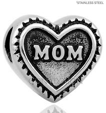 STAINLESS Steel European Charm Bead Mom Heart Mother Family Love vix4pandora