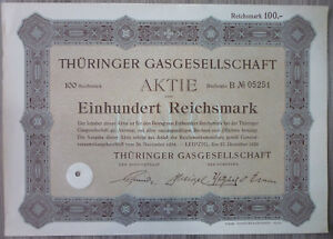 Aktie, Thüringer Gasgesellschaft 1924, (Art.3254)